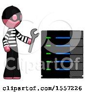 Pink Thief Man Server Administrator Doing Repairs