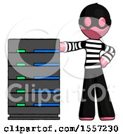 Pink Thief Man With Server Rack Leaning Confidently Against It
