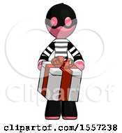 Pink Thief Man Gifting Present With Large Bow Front View
