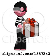Pink Thief Man Giving A Present