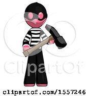 Pink Thief Man Holding Hammer Ready To Work