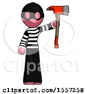 Pink Thief Man Holding Up Red Firefighters Ax