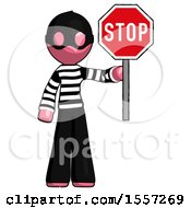 Pink Thief Man Holding Stop Sign