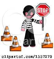 Pink Thief Man Holding Stop Sign By Traffic Cones Under Construction Concept