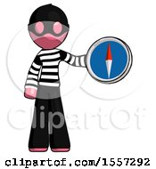 Pink Thief Man Holding A Large Compass