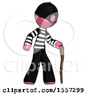 Pink Thief Man Walking With Hiking Stick
