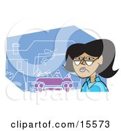 African American Woman Standing On The Scene Of An Accident Where A Car Ran Into A House Clipart Illustration