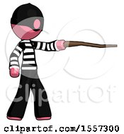 Pink Thief Man Pointing With Hiking Stick