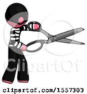 Pink Thief Man Holding Giant Scissors Cutting Out Something