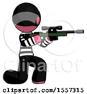 Pink Thief Man Kneeling Shooting Sniper Rifle