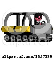 Pink Thief Man Driving Amphibious Tracked Vehicle Side Angle View