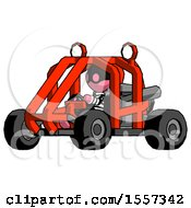 Pink Thief Man Riding Sports Buggy Side Angle View