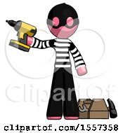 Pink Thief Man Holding Drill Ready To Work Toolchest And Tools To Right