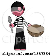 Pink Thief Man With Empty Bowl And Spoon Ready To Make Something