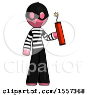 Pink Thief Man Holding Dynamite With Fuse Lit