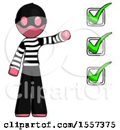 Pink Thief Man Standing By List Of Checkmarks