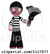 Pink Thief Man Holding Feather Duster Facing Forward
