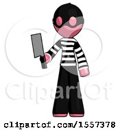 Pink Thief Man Holding Meat Cleaver