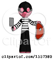 Pink Thief Man Holding Large Steak With Butcher Knife