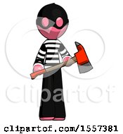 Pink Thief Man Holding Red Fire Fighters Ax