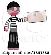 Pink Thief Man Holding Large Envelope