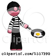 Poster, Art Print Of Pink Thief Man Frying Egg In Pan Or Wok Facing Right