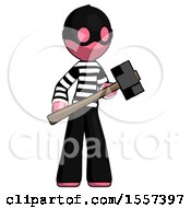 Pink Thief Man With Sledgehammer Standing Ready To Work Or Defend