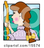 Woman With Long Brown Hair Holding A Staff And Standing On A Grassy Hill Bo Peep Clipart Illustration by Andy Nortnik