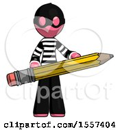 Pink Thief Man Writer Or Blogger Holding Large Pencil