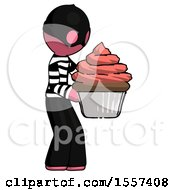 Pink Thief Man Holding Large Cupcake Ready To Eat Or Serve