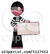 Pink Thief Man Presenting Large Envelope