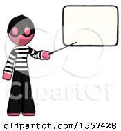 Pink Thief Man Giving Presentation In Front Of Dry Erase Board