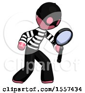 Pink Thief Man Inspecting With Large Magnifying Glass Right