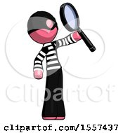 Pink Thief Man Inspecting With Large Magnifying Glass Facing Up