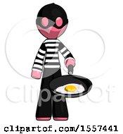 Poster, Art Print Of Pink Thief Man Frying Egg In Pan Or Wok