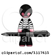 Pink Thief Man Weightlifting A Giant Pen