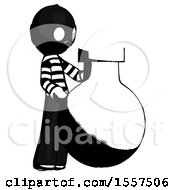 Ink Thief Man Standing Beside Large Round Flask Or Beaker