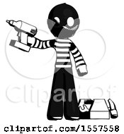 Ink Thief Man Holding Drill Ready To Work Toolchest And Tools To Right
