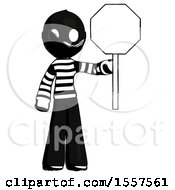 Ink Thief Man Holding Stop Sign