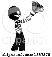 Ink Thief Man Dusting With Feather Duster Upwards