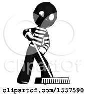 Ink Thief Man Cleaning Services Janitor Sweeping Floor With Push Broom