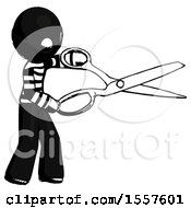 Ink Thief Man Holding Giant Scissors Cutting Out Something