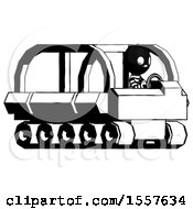 Ink Thief Man Driving Amphibious Tracked Vehicle Side Angle View