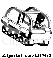 Ink Thief Man Driving Amphibious Tracked Vehicle Top Angle View