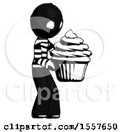 Ink Thief Man Holding Large Cupcake Ready To Eat Or Serve