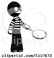 Poster, Art Print Of Ink Thief Man Frying Egg In Pan Or Wok Facing Right