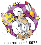 Proud Astronaut In A Spacesuit Floating In Outer Space Near A Space Shuttle Rocket And A Planet Clipart Illustration