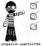 Ink Thief Man Standing By List Of Checkmarks