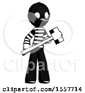 Ink Thief Man With Sledgehammer Standing Ready To Work Or Defend