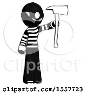 Ink Thief Man Holding Up Red Firefighters Ax